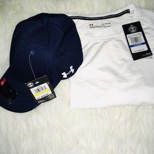 Under Armour Bundle Wht Shirt Blue UA Cap Shirt XL